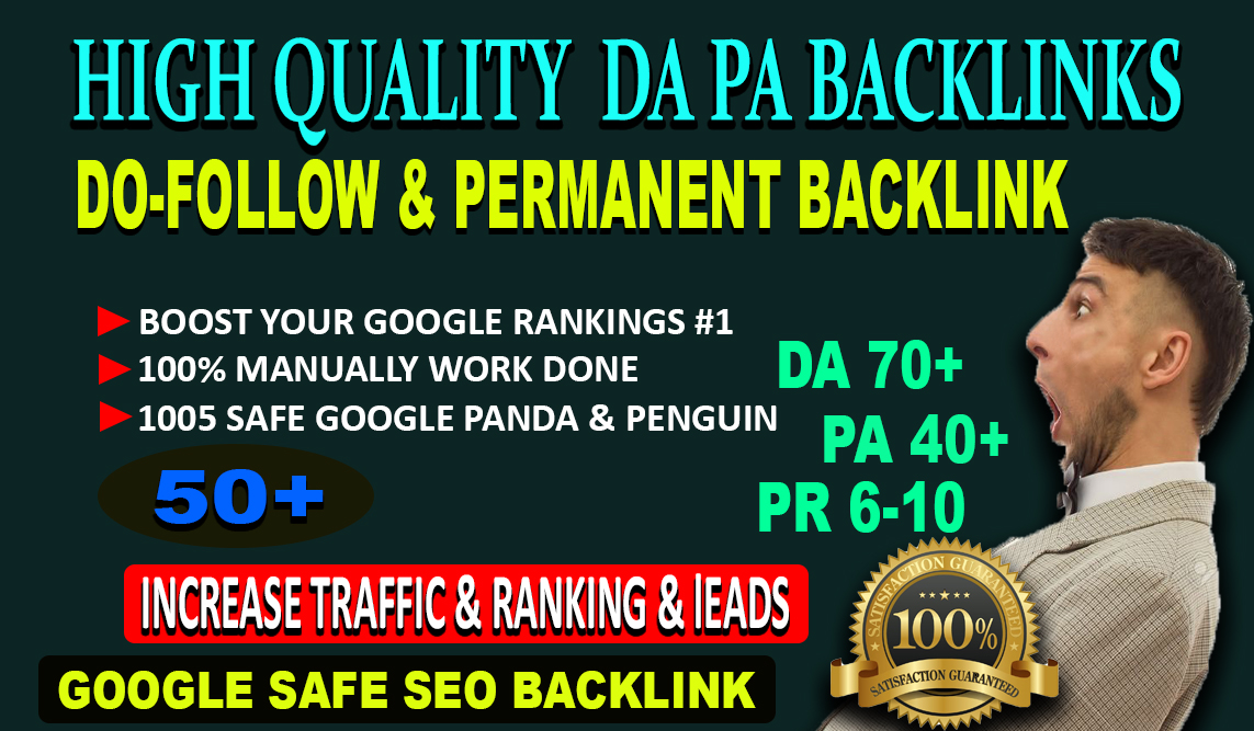 Build 50+ Permanent web2.0 Backlink with High DA 70+ PA 40+with unique website