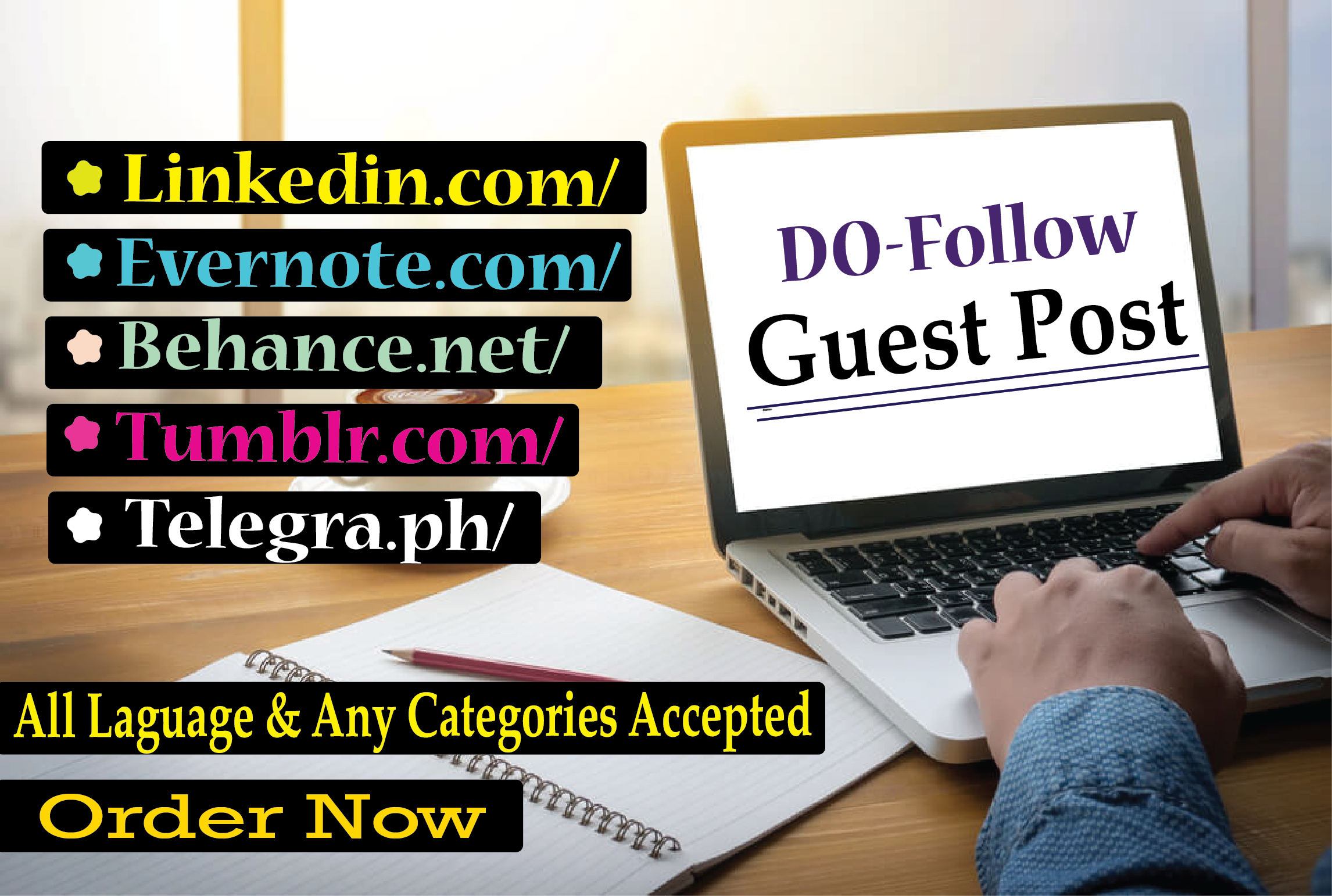 I will compose and distribute 5 Guest Posts on DA 75 to 90+ site Unique article Permanent backlinks