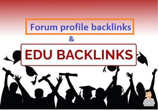 5 EDU profile backlinks and 15 Forum profile backlinks manually created