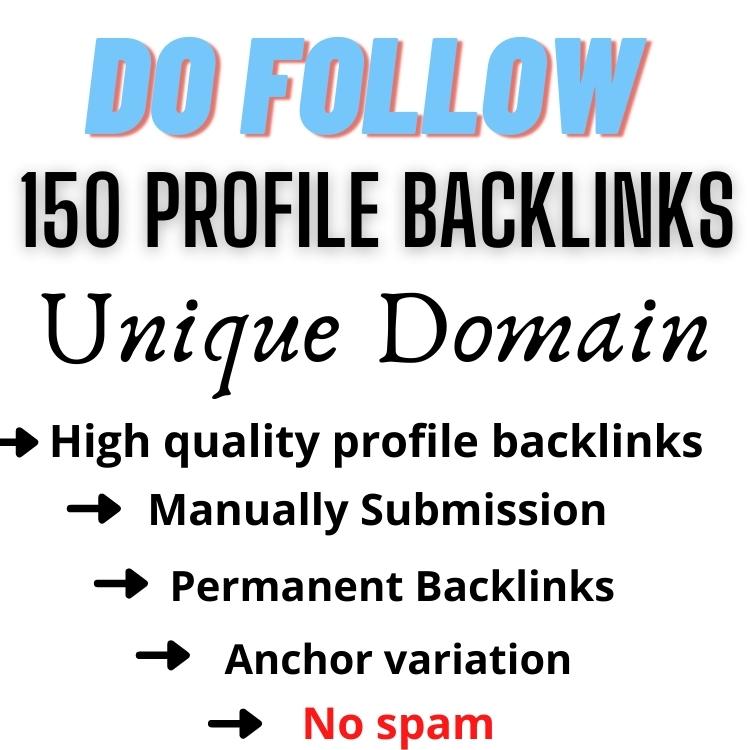 150 Unique domain Profile Backlinks Manually Create