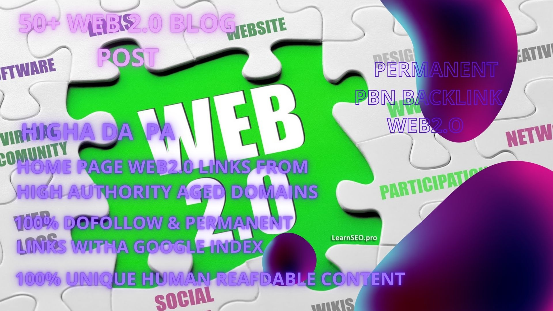 50+ permanant pbn backlink WEB2.O with 50+DA 50+PA in your homepage with unique website