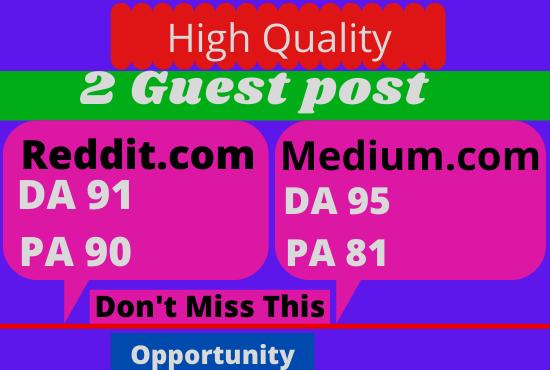 Publish 2 Guest Post On Reddit. Com & Medium. com High Quality Backlink