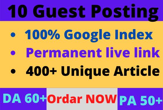 Write & Publish 10 Guest Post on DA60-99 Website Backlink