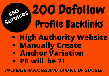 Get Manually 200 High Quality Social Profile Backlinks On Your Website