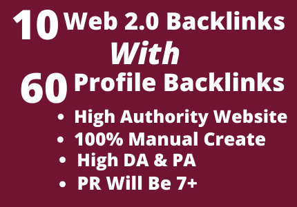 Get 70 High Authority Web 2.0 With Profile Backlinks On Your Website.