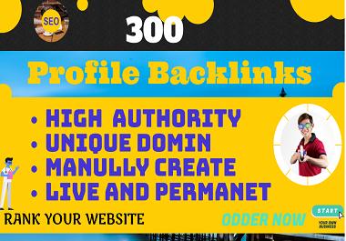 300 HQ DA & PA Profile Backlinks With Unique Domain