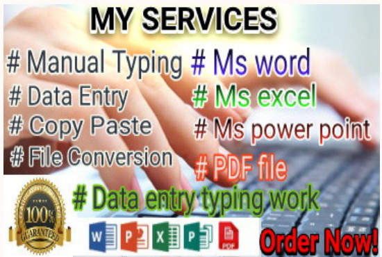 I will do a fast typing job,  Retype scanned documents and type setting services