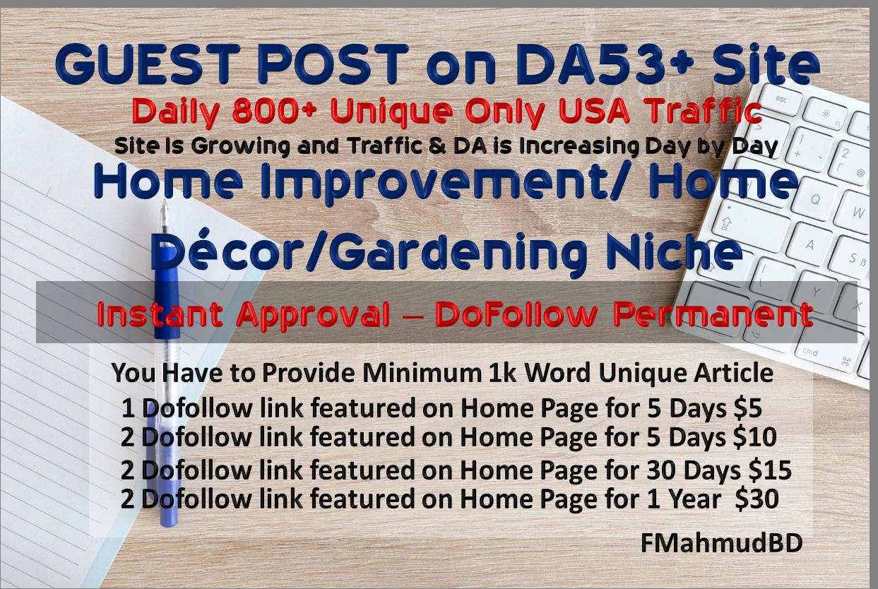 GuestPost on 3Sites DA55+ HomeImprovement HighAuthority NicheSite