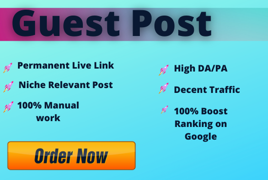 Write and Publish Unique 10 Guest Posts On High Metrics and Authority Sites,  Indexable backlinks