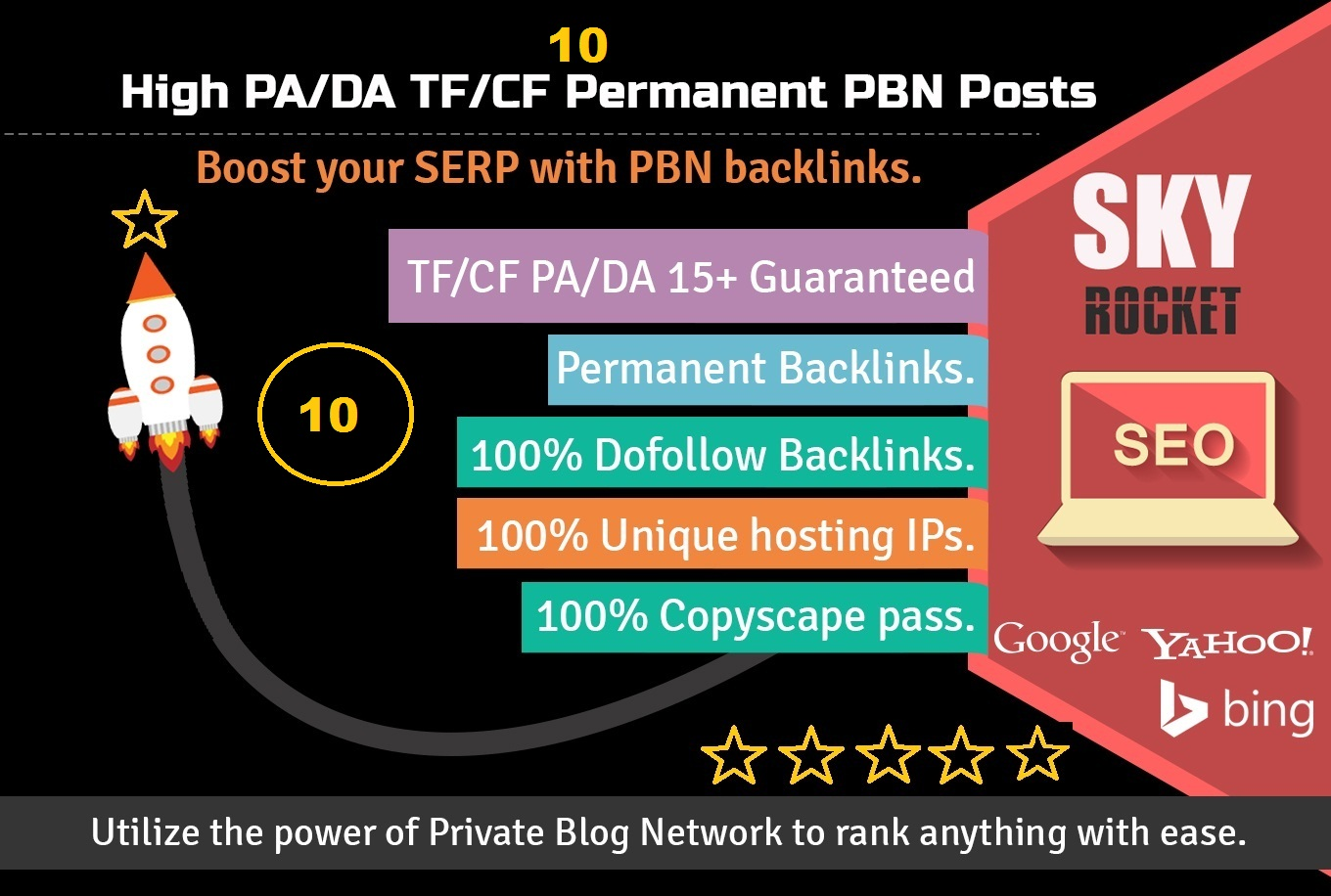 Manually 30 PBN Backlinks DA 20+ and TF 20+ to get within 24 Hours