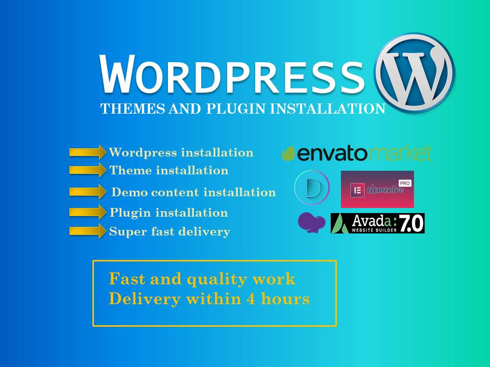 wordpress installation,  demo import,  themes & plugin installtion