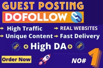 I will do guest post, high da pa guest post with dofollow backlink