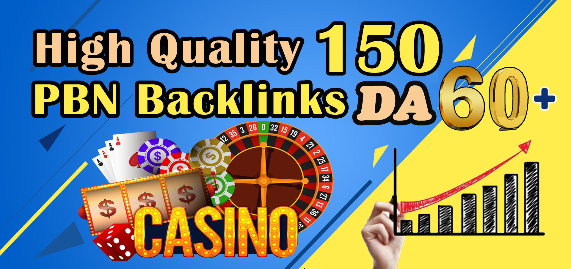 Get 150 High Quality DA 60+ Casino Gambling poker homepage pbn backlinks and judi related sites.