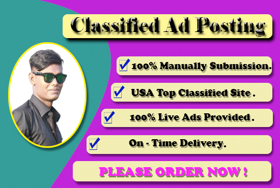 I Will Provide 120 Manual Classified Ads Posting On Top Ad Websites
