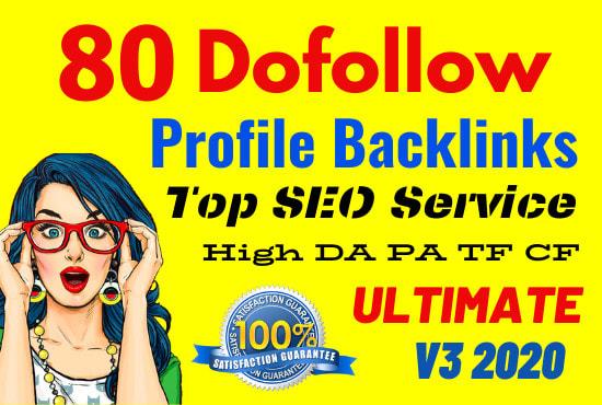 I will creat 80 high authority profile backlinks