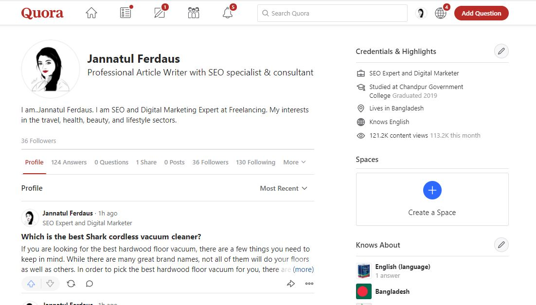 Posting 3 HQ Quora Answer with your Keyword & URL