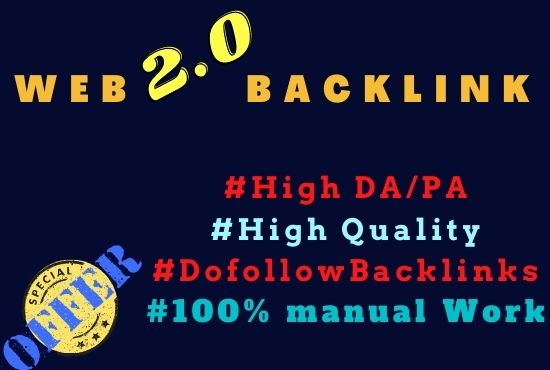 I will create 70 high authority web 2 0 backlinks manually