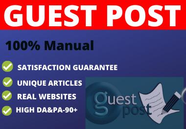 Write and Publish 10 Guest Post DA 90+ unique content high authority website
