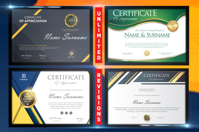 I will professional award,  diploma,  degree,  gift certificate design