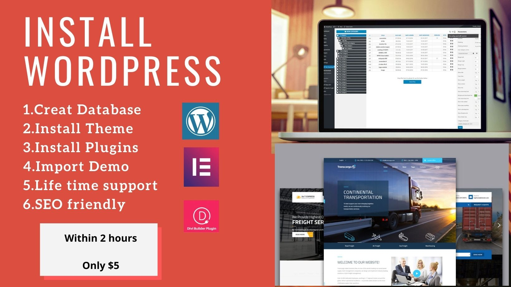 I will install wordpress, plugin, setup theme and creat database.