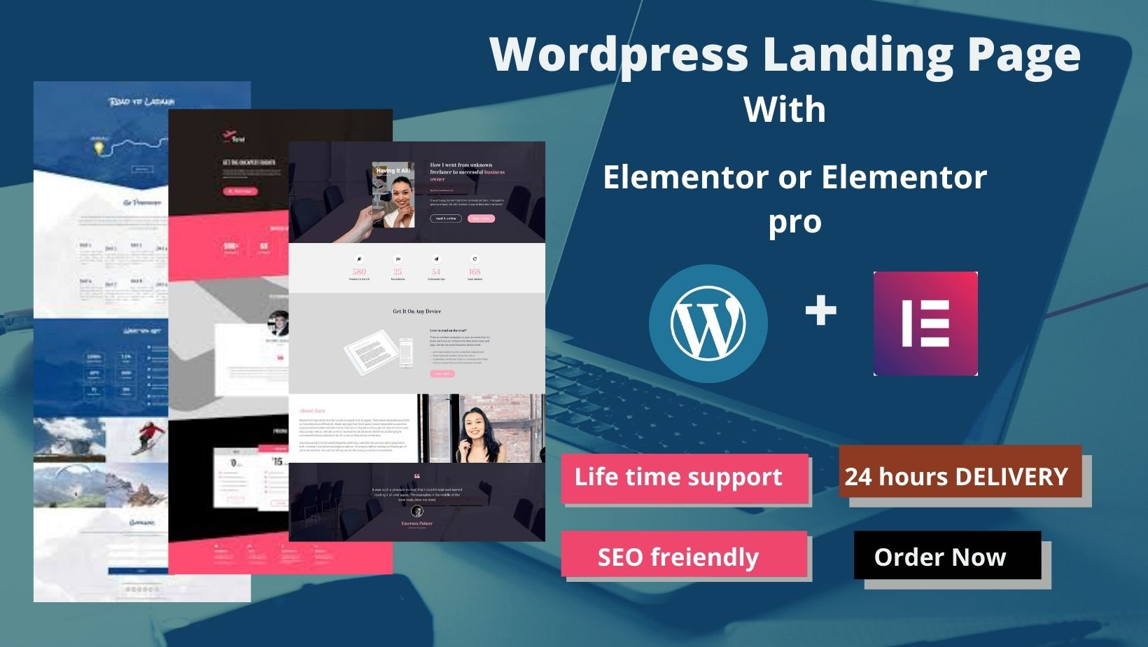 I will design wordpress landing page or blog with Elementor or Elementor pro