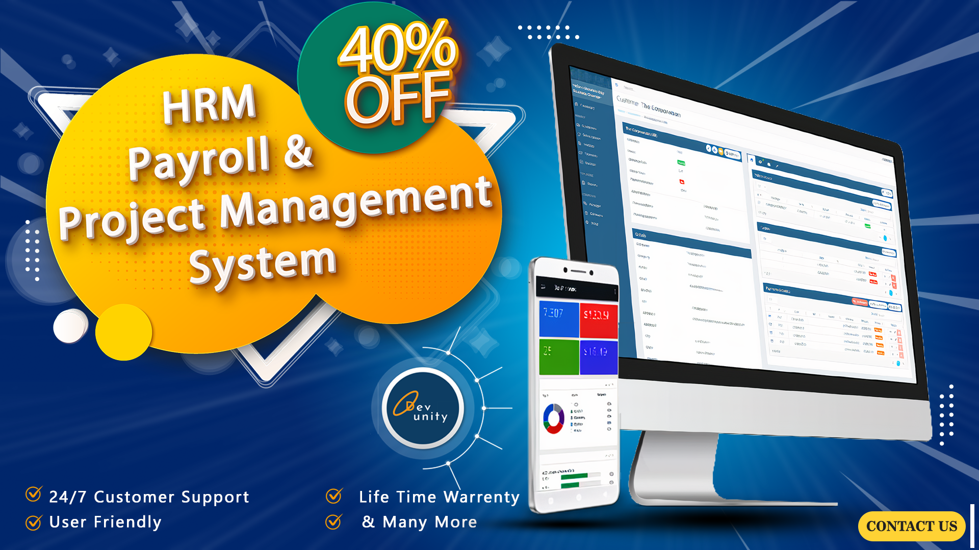 I will install hrm,  payroll,  project management system lifetime licence 40 usd