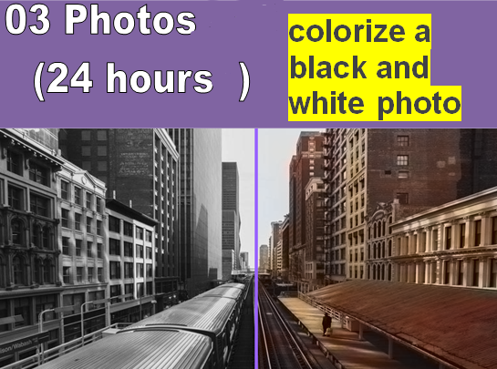 I will colorize 03 black and white photos within 24 hours