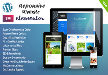 create a responsive word press website or landing page with element or pro