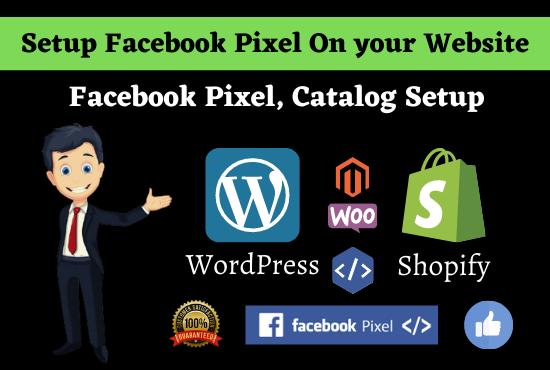 I will setup Facebook pixel catalogue custom audience pixel bug fix