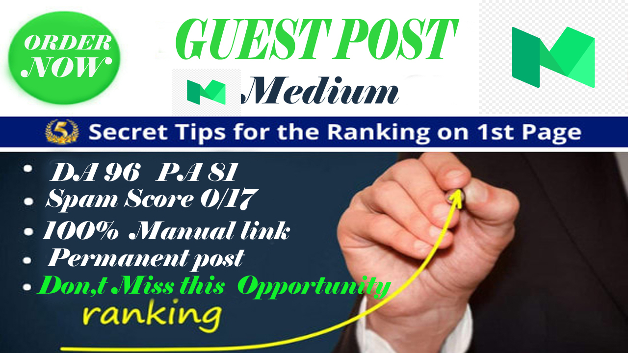 Write and publish a guest post on Medium DA 96 PA 81