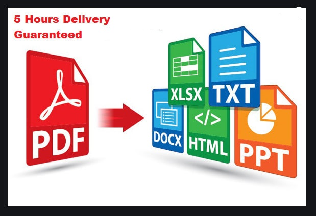 I will convert PDF to WORD,EXCEL,JPG,HTML AND convert WORD,EXCEL,JPG,HTML to PDF for 5 Hours