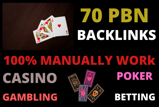 Get 70 casino gambling poker betting high quality pbn backlinks