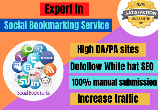 I will do social bookmarking on 100 High DA/PR sites manually