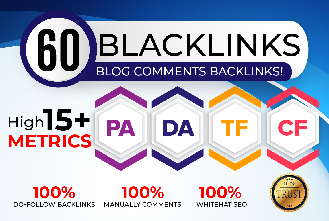 I will Do 60 Backlinks in High PA/DA CF/TF 15+ Do Follow Blog Comments.