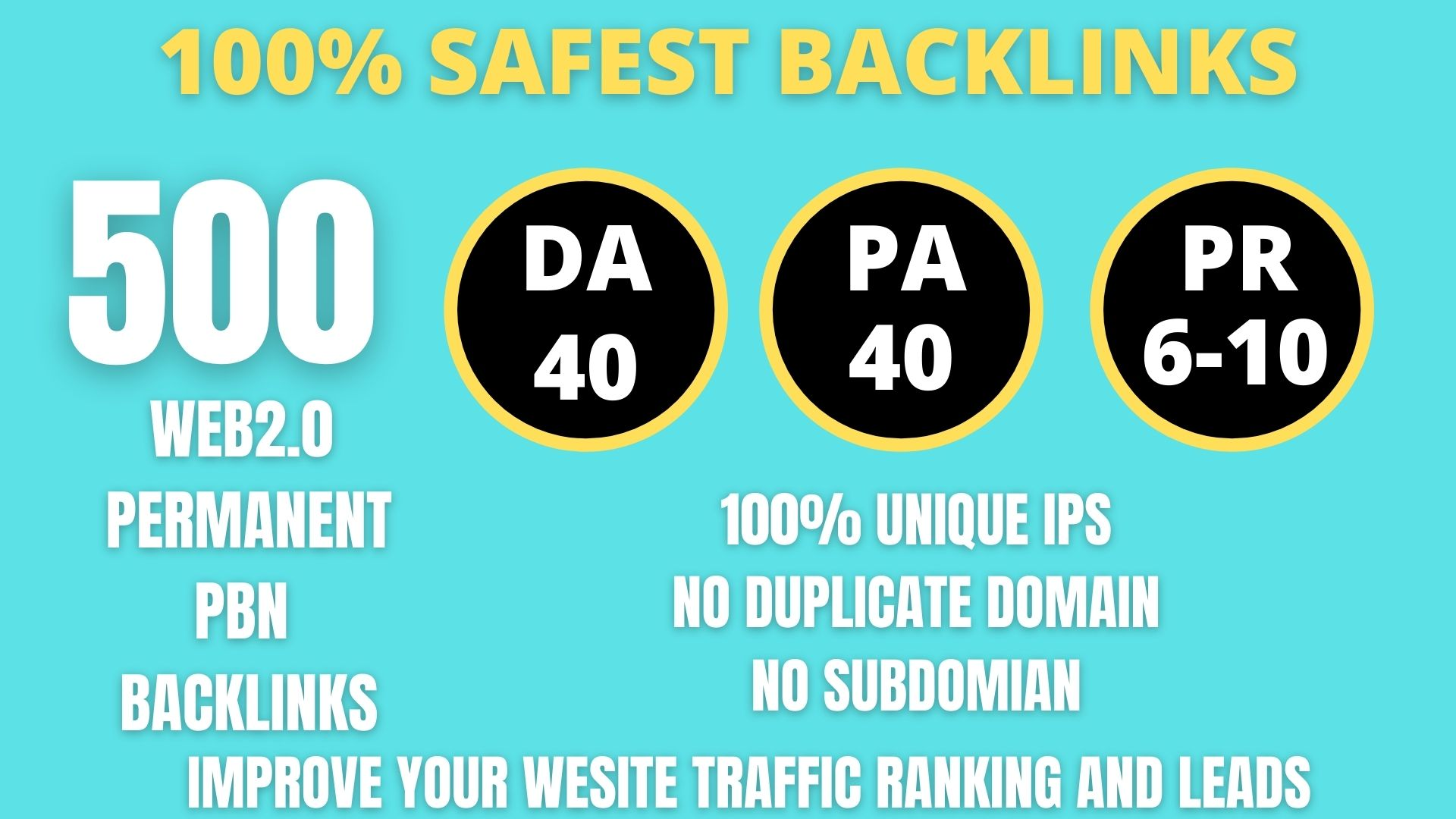 I WILL DO 500+ Permanent Web2.0 Backlink with High DA/PA/TF/CF On your homepage with unique website