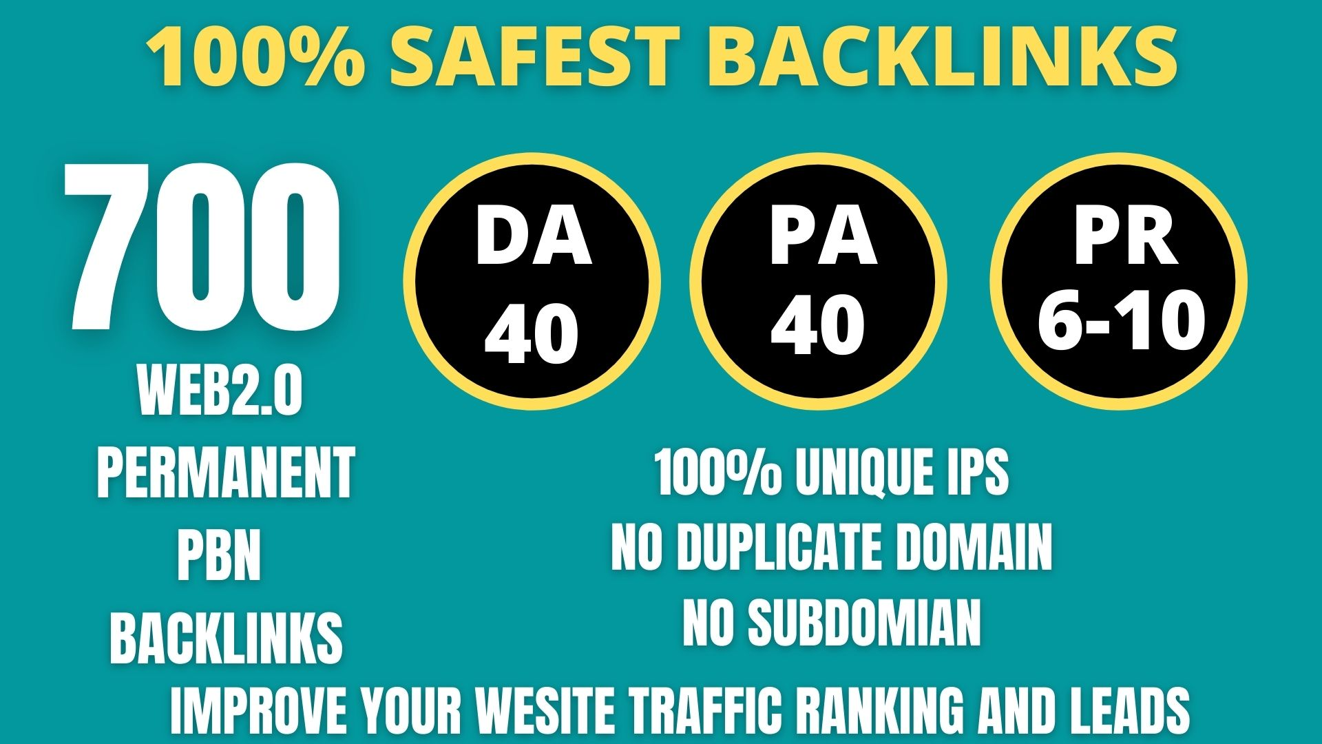 I WILL DO 700+ Permanent Web2.0 Backlink with High DA/PA/TF/CF On your homepage with unique website