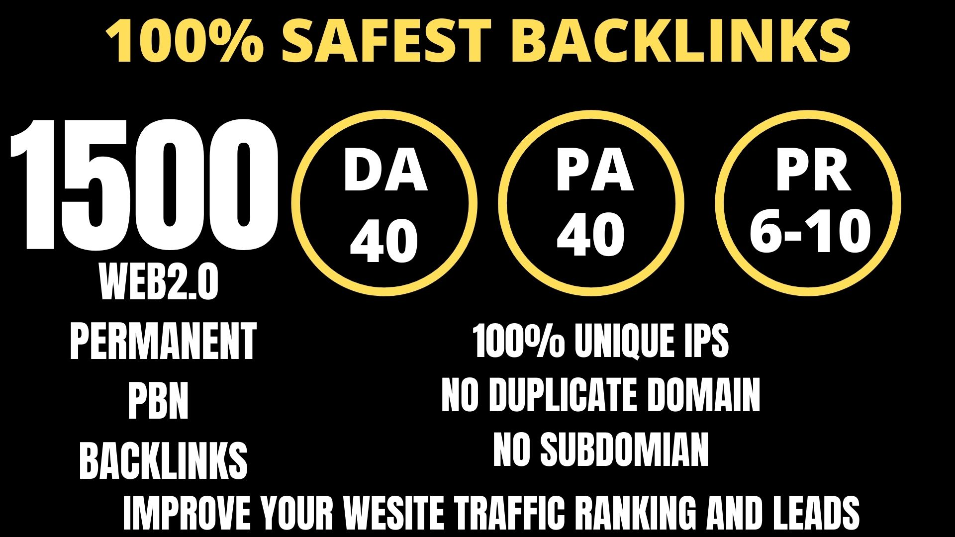 I WILL DO 1500+ Permanent Web2.0 Backlink with High DA/PA/TF/CF On your homepage with unique website