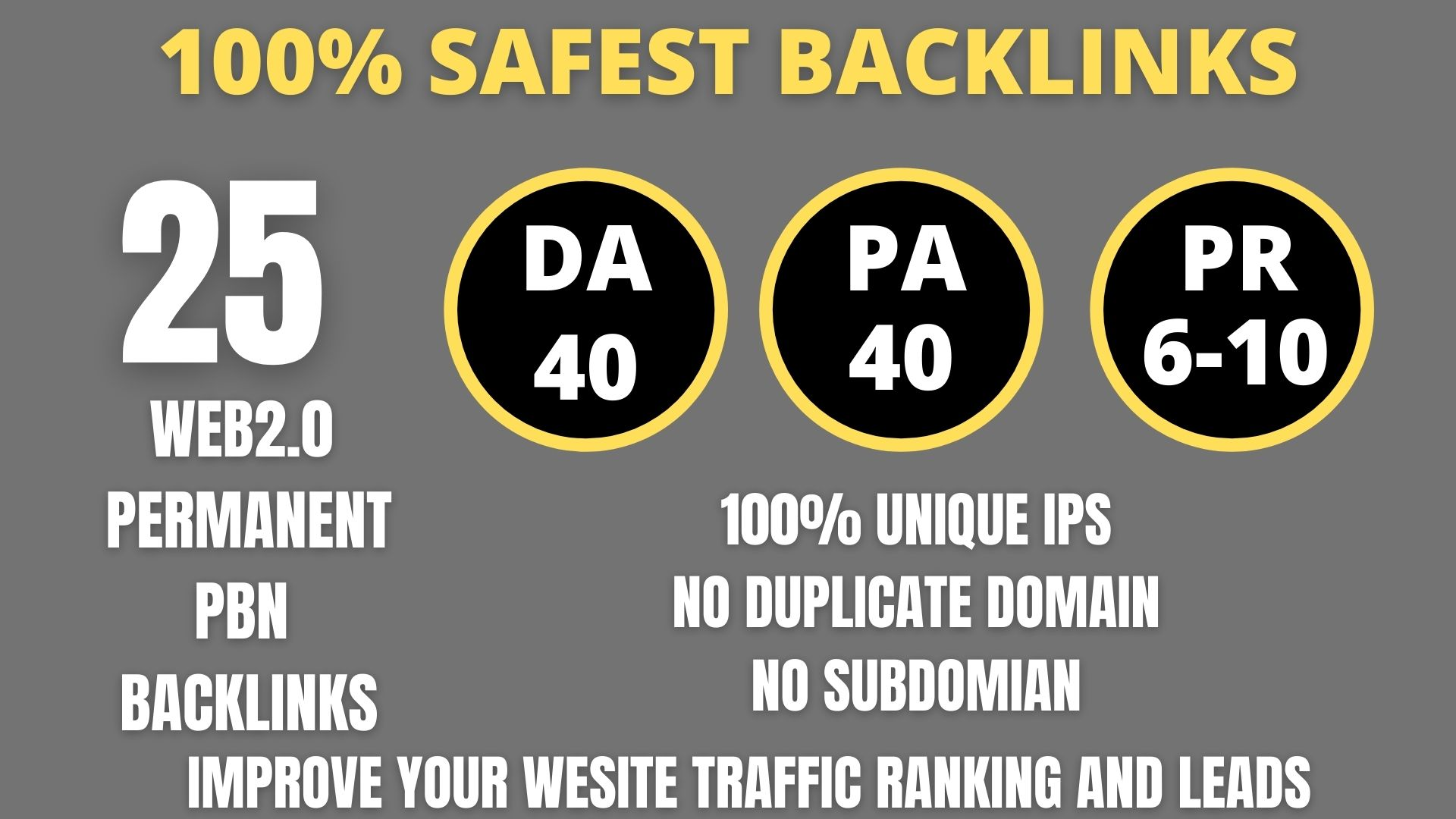 I WILL DO 25+ Permanent Web2.0 Backlink with High DA/PA/TF/CF On your homepage with unique website