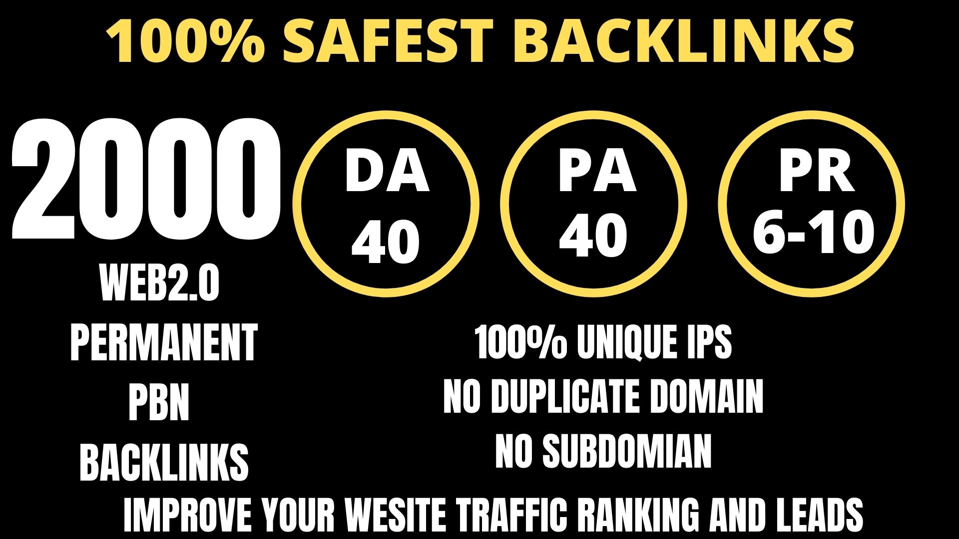 I WILL DO 2000+ Permanent Web2.0 Backlink with High DA/PA/TF/CF On your homepage with unique websit