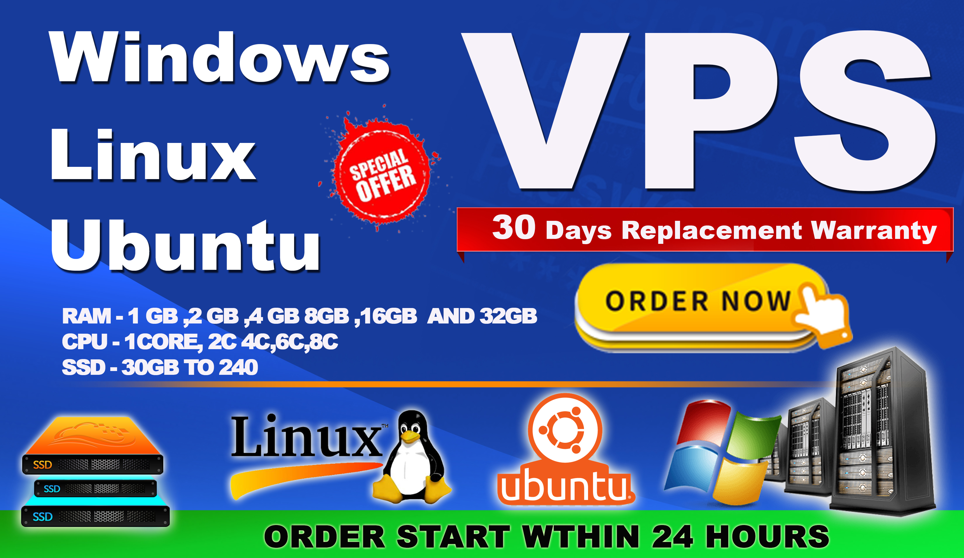 windows rdp vps 2core cpu 4gb Ram with 40GB SSD for 30 days
