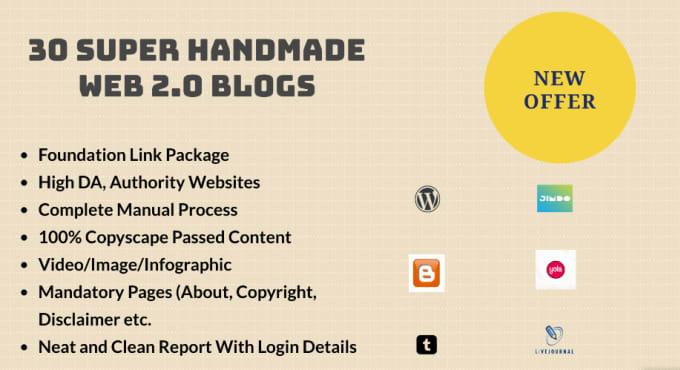 I will manually create 30 super web 2.0 permanent blogs