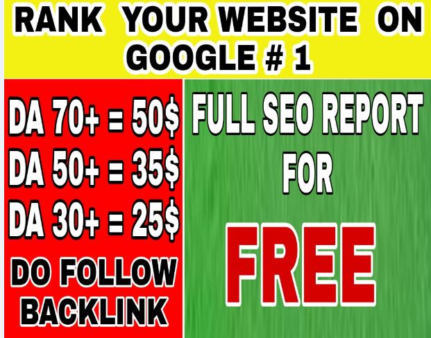 Increase you Website Domain authority with High DA 70+ and DA 50+ dofollow backlink
