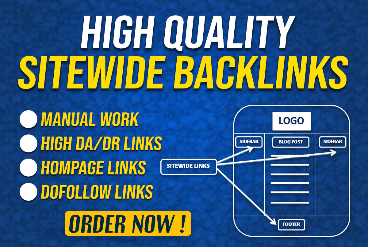 I will create 5 high quality homepage sitewide dofollow seo backlinks for google ranking