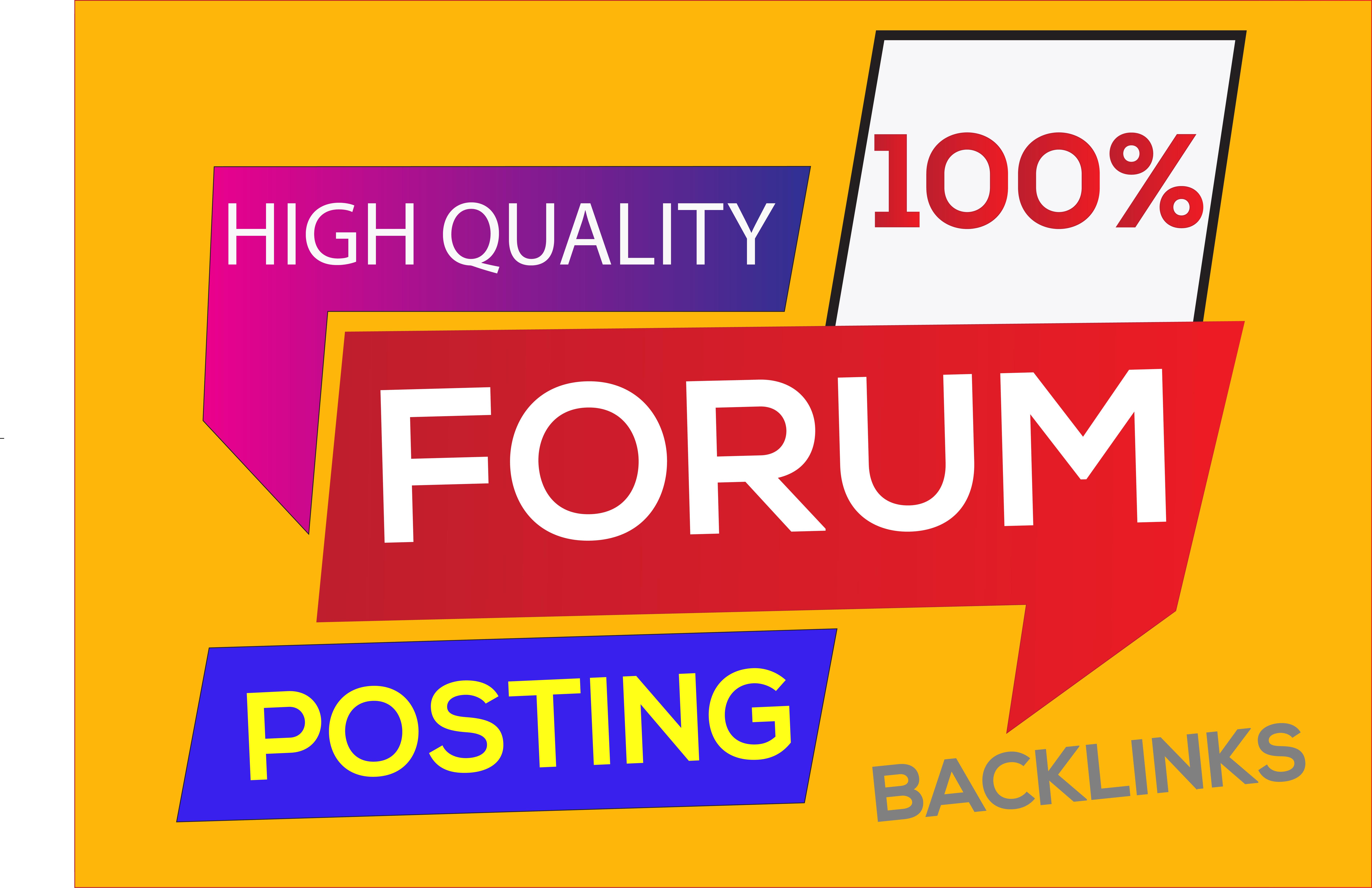 I will Creat 30 High-Quality dofollow Forum Posting backlinks