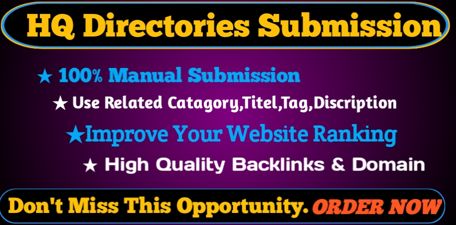 I will Provide 30 HQ Directory Submission backlinks DA 70+