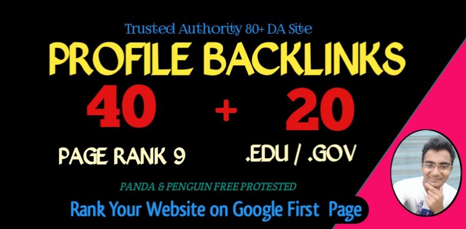 provide 60 backlinks from 40 PR9 + 20 EDU GOV High Authority Dofollow SEO Backlinks