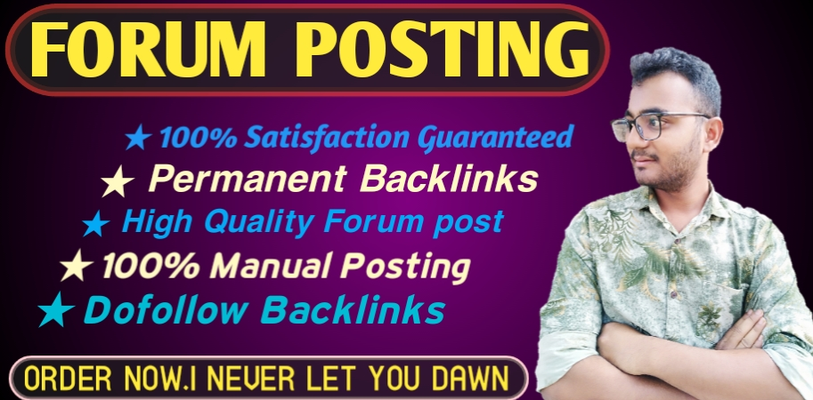 Provide 30 forum posting backlinks on High DA PA to increase your website ranking