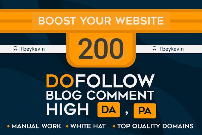 I will provide 200 do follow blog comment SEO backlinks with high da pa