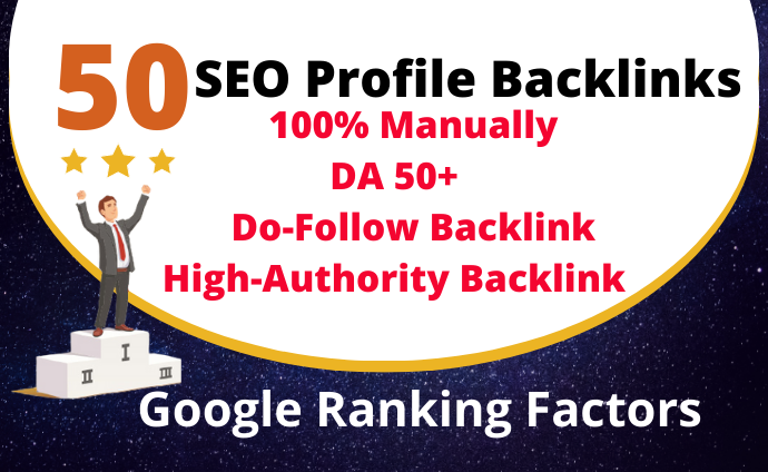I will build 50 profile backlinks on high DA PR sites manually