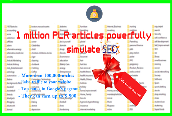 I will Give you package 1,000,000 articles in English for the first 100poeple